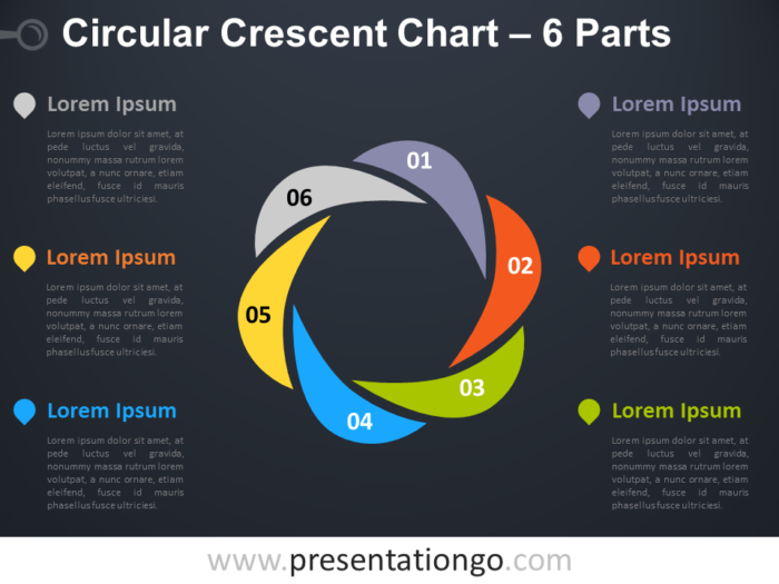 Free editable Circular Crescent PowerPoint Diagram with 6 Parts - Dark Background