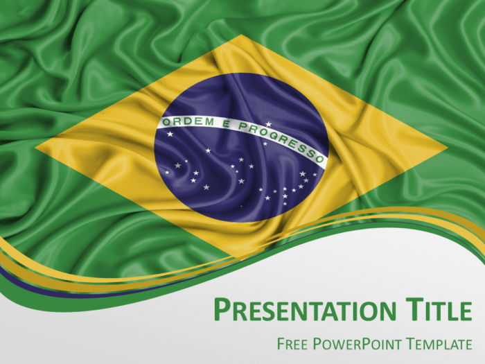Free PowerPoint template with flag of Brazil background