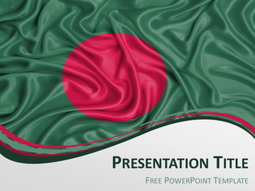 Free PowerPoint template with flag of Bangladesh background