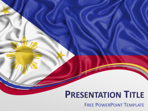 Free PowerPoint template with flag of Philippines background