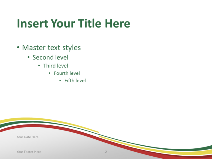 Free PowerPoint template with flag of Ethiopia background. Title and Content slide.
