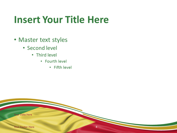 Free PowerPoint template with flag of Congo background. Title and Content slide.