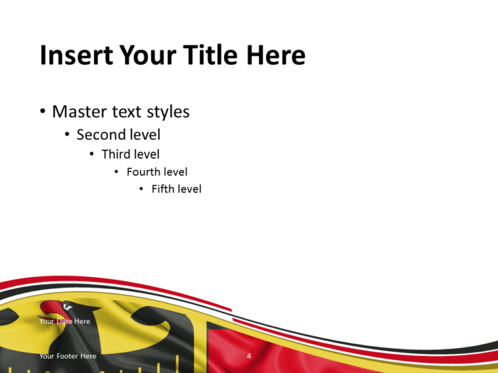 Free PowerPoint template with flag of Germany background. Title and Content slide.