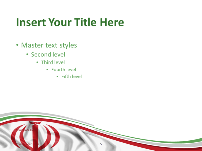 Free PowerPoint template with flag of Iran background. Title and Content slide.