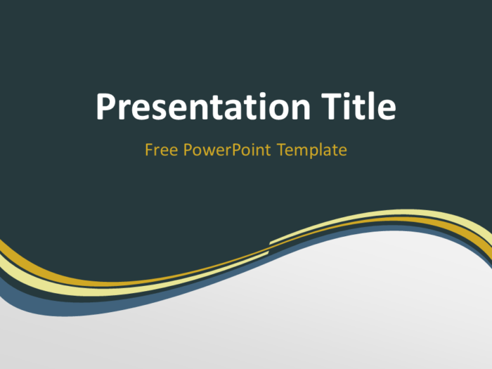 Free Golden Abstract Wave PowerPoint Template - Title Slide With Dark Background