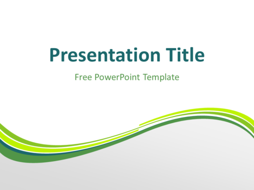 Free Green Abstract Wave PowerPoint Template - Title Slide With Light Background