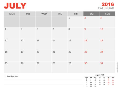 Free July 2016 PowerPoint Calendar Start Monday