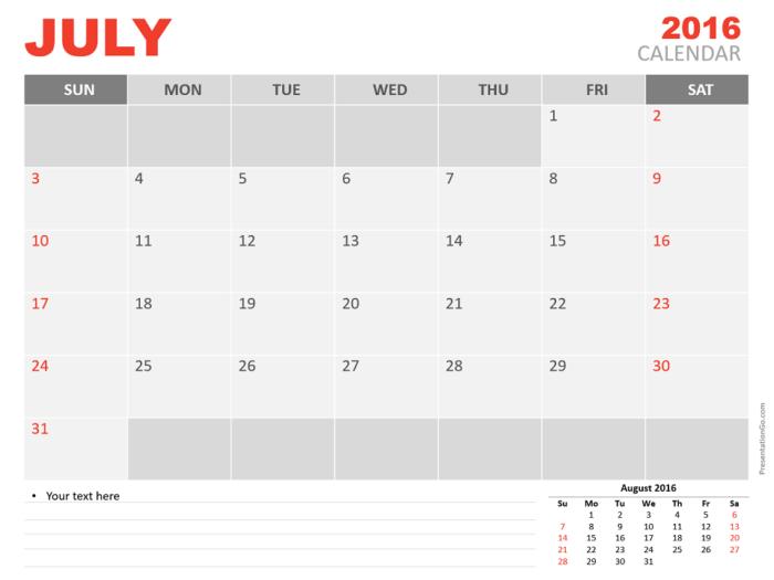 Free July 2016 PowerPoint Calendar Start Sunday