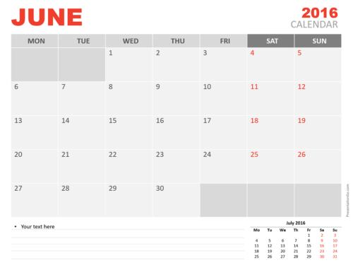 Free June 2016 PowerPoint Calendar Start Monday