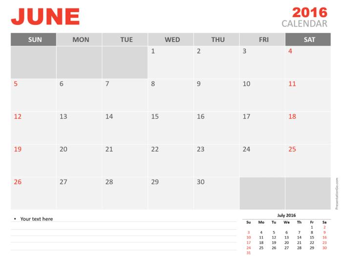 Free June 2016 PowerPoint Calendar Start Sunday