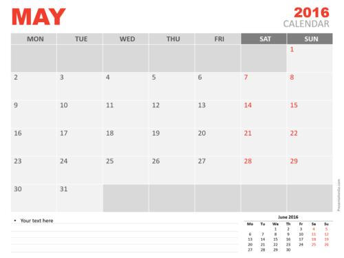 Free May 2016 PowerPoint Calendar Start Monday