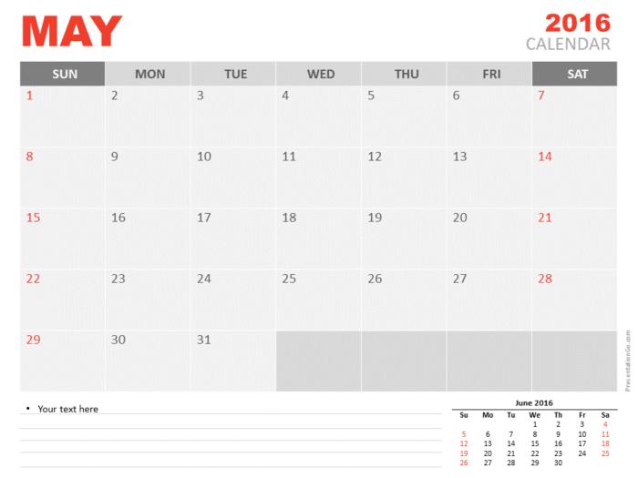 Free May 2016 PowerPoint Calendar Start Sunday