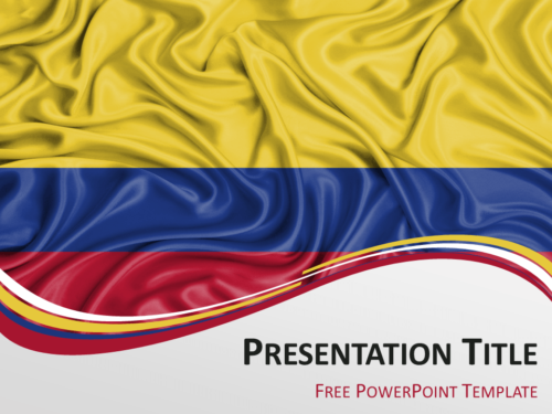 Free PowerPoint template with flag of Colombia background