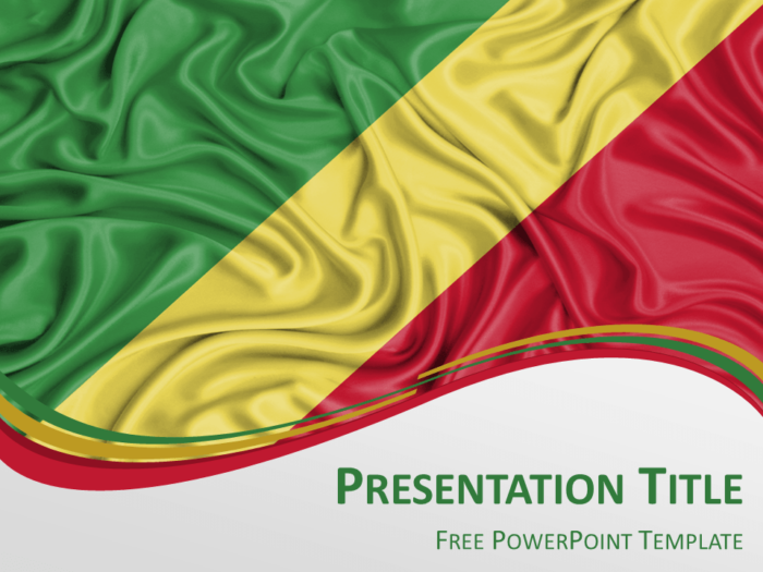Free PowerPoint template with flag of Congo background