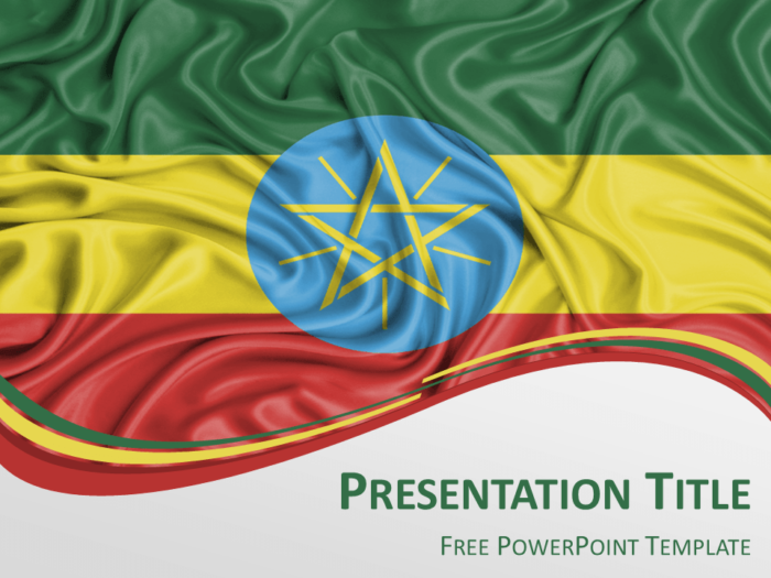 Free PowerPoint template with flag of Ethiopia background