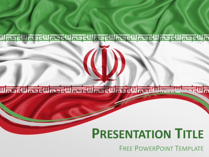 Free PowerPoint template with flag of Iran background