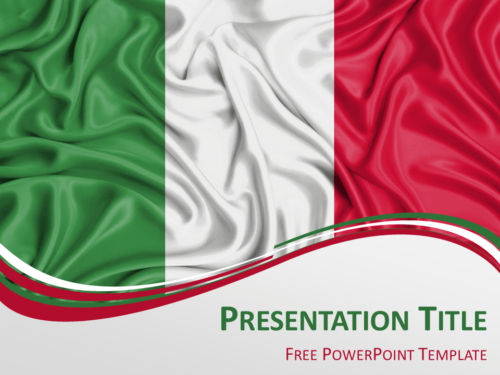 Free PowerPoint template with flag of Italy background