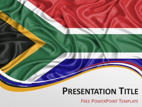Free PowerPoint template with flag of South Africa background