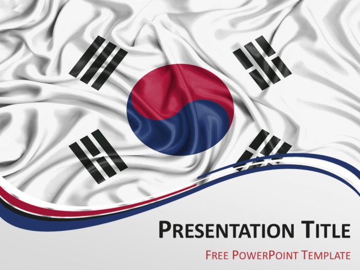 Free PowerPoint template with flag of South Korea background