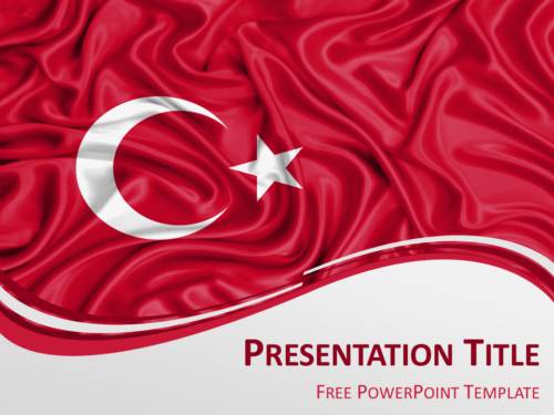 Free PowerPoint template with flag of Turkey background