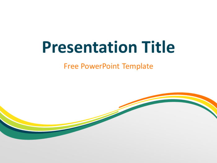 Free Spring Abstract Wave PowerPoint Template - Title Slide With Light Background