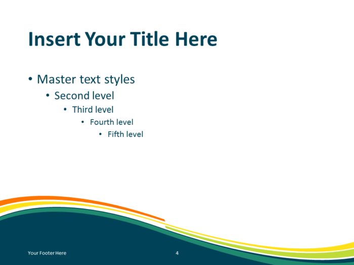 Free Spring Abstract Wave PowerPoint Template - Content Slide