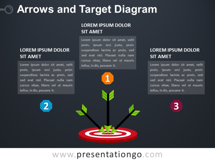 Free Arrows and Target PowerPoint Diagram - Dark Background