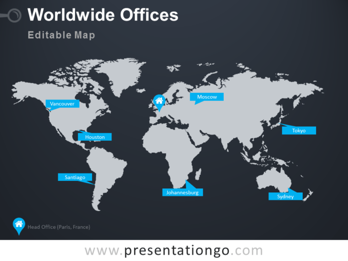Free Editable Worldmap Wordwide Offices PowerPoint