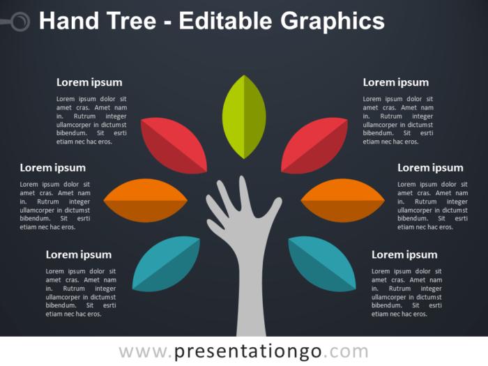 Free Hand Tree PowerPoint Diagram - Dark Background