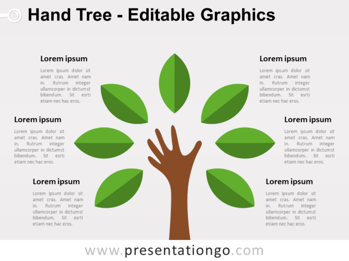 Free Hand Tree PowerPoint Diagram - Green Leafs