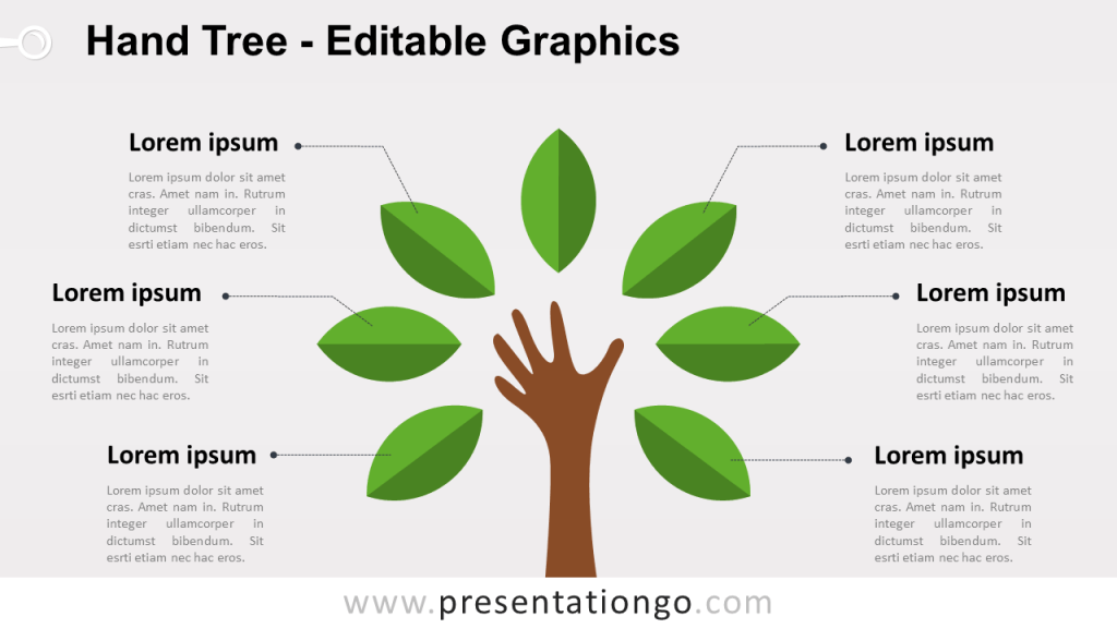 Free Hand Tree PowerPoint Diagram - Green Leafs - Widescreen size (16:9)