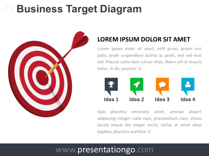 Free Target Business PowerPoint Diagram with red bullseye target