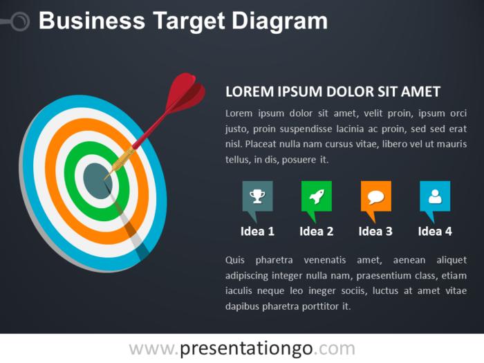 Free Target Business PowerPoint Diagram - Dark Background