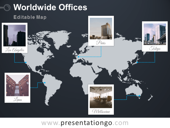 Free PowerPoint worldmap with Polaroid frames for your offices - Dark background
