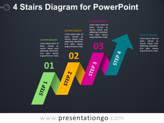 Free 4-Staged Arrow Stair PowerPoint Diagram - Dark Layout