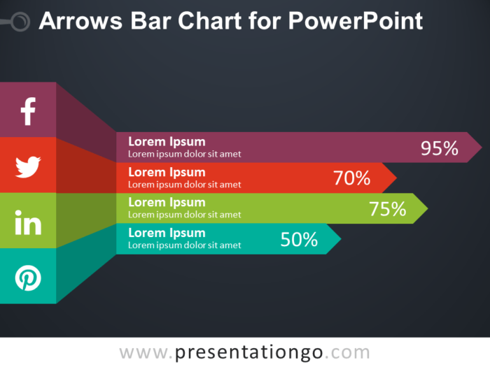 Free Arrows Bar Chart for PowerPoint - Dark Background