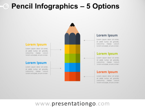 Free Infographic Pencil with 5 Options for PowerPoint