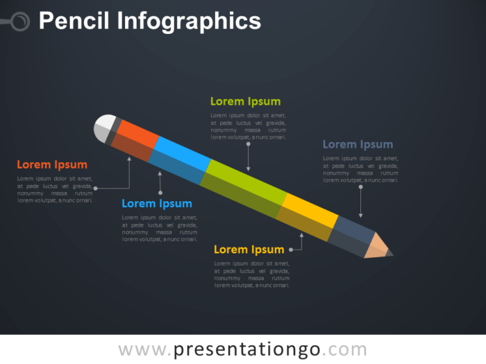 Free Infographic Pencil Diagram for PowerPoint - Dark Background