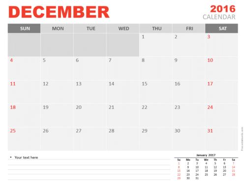 Free December 2016 PowerPoint Calendar Start Monday