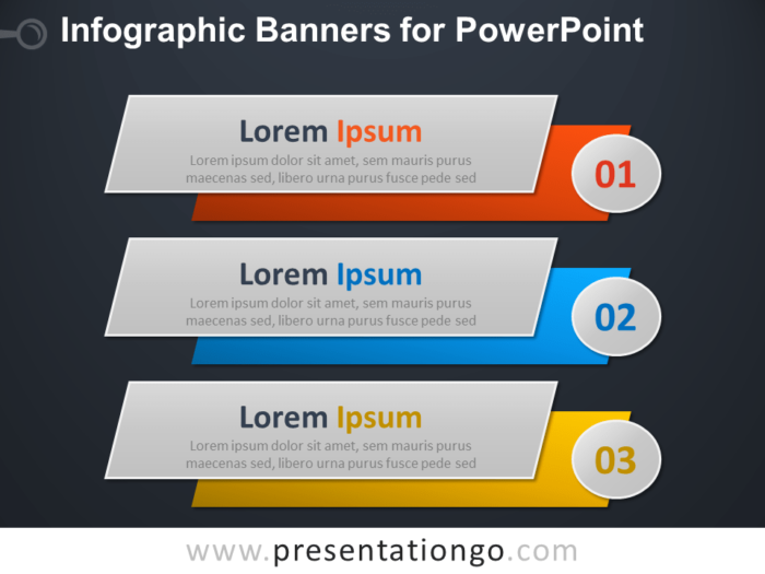 Free Infographic Banners Diagram for PowerPoint - Dark Background