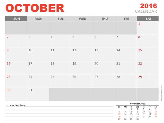 Free October 2016 PowerPoint Calendar Start Sunday