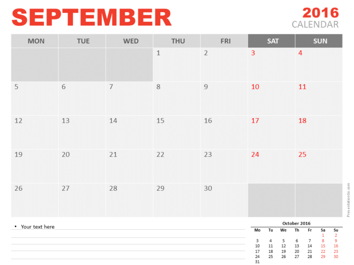 Free September 2016 PowerPoint Calendar Start Monday