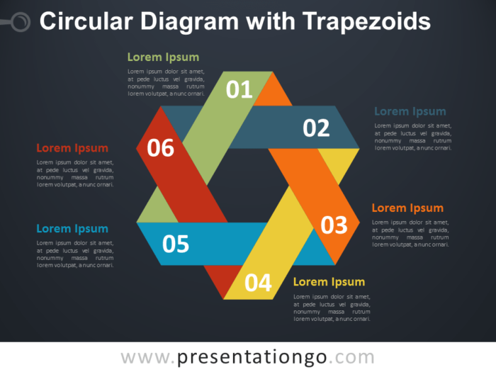 Free Circular Diagram with Trapezoids for PowerPoint - Dark Background