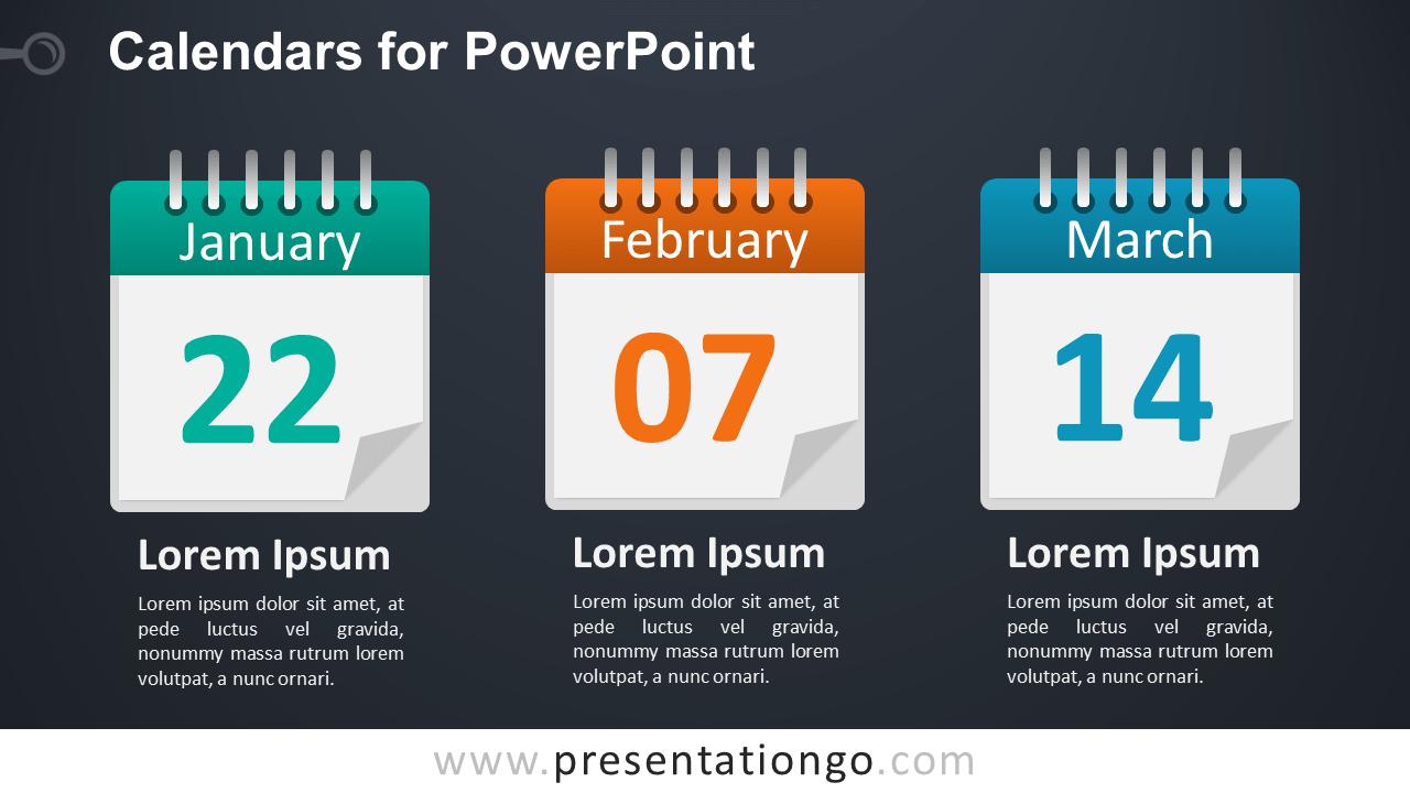 3 Calendars for PowerPoint - Dark Background