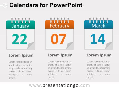 3 Calendars PowerPoint Diagram