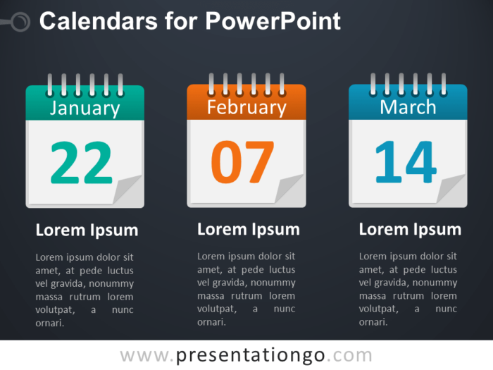 3 Calendars PowerPoint Diagram - Dark Background
