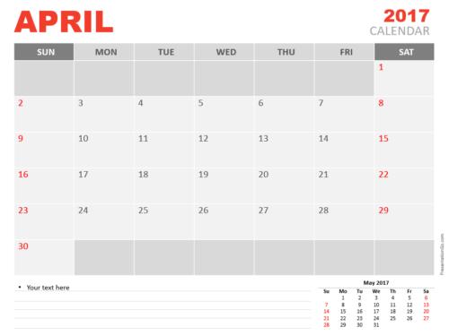 Free April 2017 PowerPoint Calendar Start Sunday
