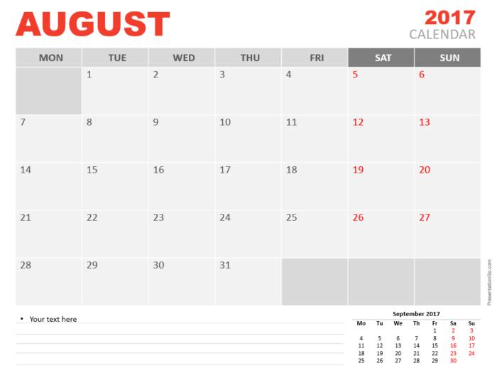 Free August 2017 PowerPoint Calendar Start Monday