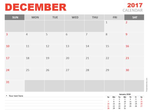 Free December 2017 PowerPoint Calendar Start Sunday