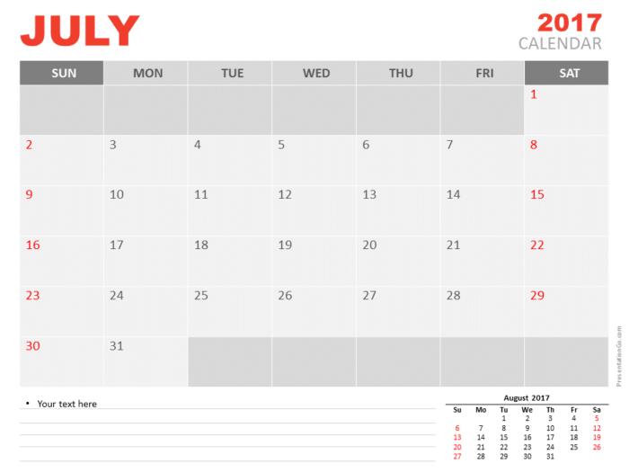 Free July 2017 PowerPoint Calendar Start Sunday